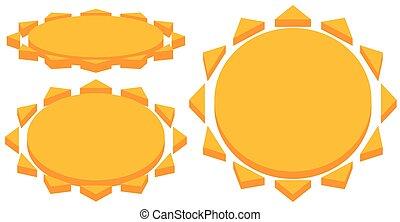 Sun with corona icon. Simple geometric clip art.