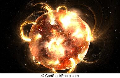 Sun with corona. Solar storm, solar flares