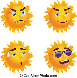 Sun with Different Emotions