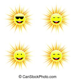 sun with different face smile illustration