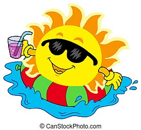 Sun with drink in water - isolated illustration.
