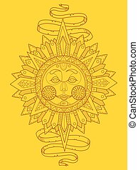 Sun with face color vector illustration