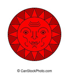 Sun with face folk symbol isolated. Vector illustration