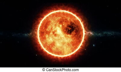 Sun with flares rotate in space - Satellite footage of the...