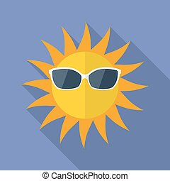 Sun with glasses icon. Modern Flat style with a long shadow