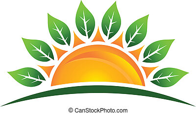 Sun with leaves image logo