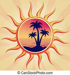 sun with palms
