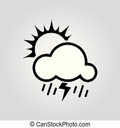 sun with rain icon, vector best flat icon