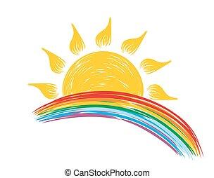 Sun with rainbow.