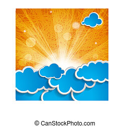 sun with rays and blue clouds on an