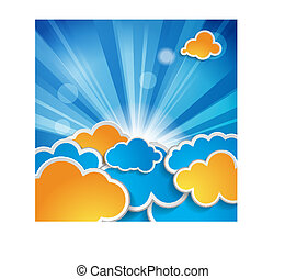 sun with rays and clouds on a blue