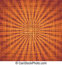 Sun with rays on grunge cloth texture. Vector
