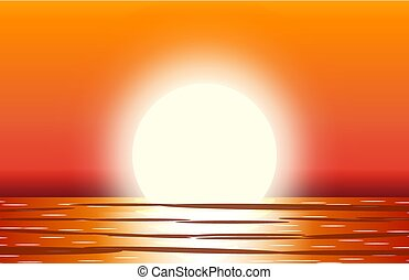 Sun with reflection in water.