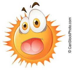 Sun with shocking face