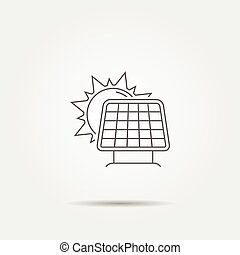 Sun with solar panel line icon