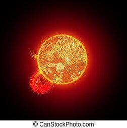 Sun with Solar wind - Illustration of solar wind on the sun