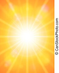 Sun with sunbeam on a orange sky. Vector illustration.