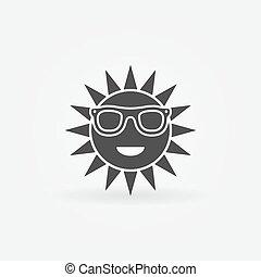 Sun with sunglasses black icon