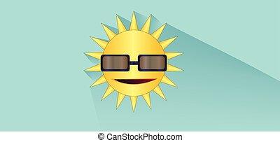 Sun with sunglasses design over whi