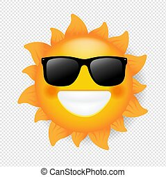 Sun With Sunglasses Isolated Transparent Background