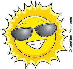sun with sunglasses on