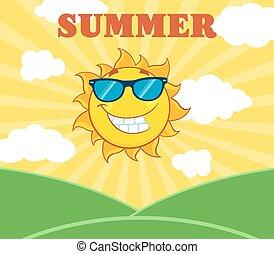 Sun With Sunglasses Over Landscape