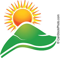 Sun with swoosh rays and hills logo - Sun with swoosh rays...
