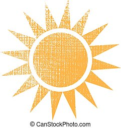 Sun with texture logo. Vector graphic design