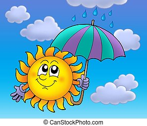 Sun with umbrela on cloudy sky - Sun with umbrella on cloudy...