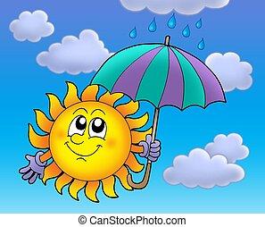 Sun with umbrela on cloudy sky - Sun with umbrella on cloudy...
