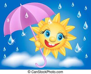 Sun with umbrella and raindrops