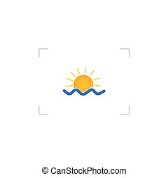 sun with water color vector