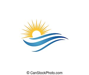 Sun With Water wave icon vector