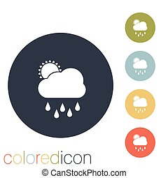sun., wolke, regen, wetter, ikone