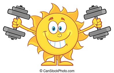 Sun Working Out With Dumbbells - Smiling Sun Cartoon Mascot...