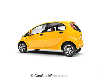 Sun yellow electric compact car - side rear view