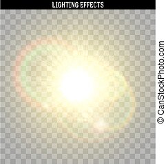 Sun yellow glare light effect. Object realistic isolated...