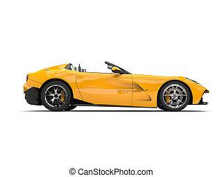 Sun yellow modern convertible super sports car - side view
