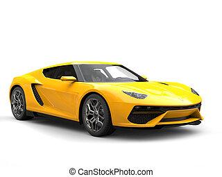 Sun yellow modern super sports car - studio shot