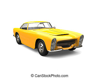 Sun yellow old vintage muscle concept car