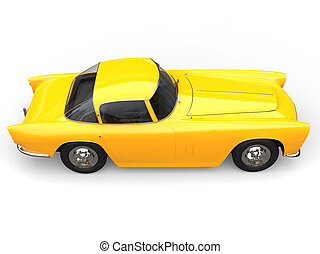 Sun yellow old vintage muscle concept car - top down view