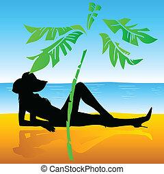 sunbather, girl, plage
