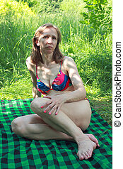 sunbathes, mulher, sombra, árvores, sob
