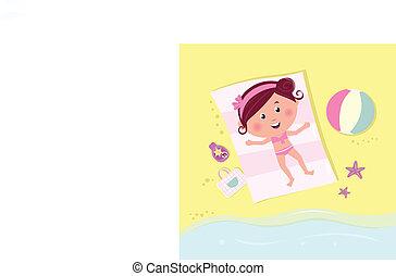 sunbathing, menina, praia, sorrindo, mentindo, feliz