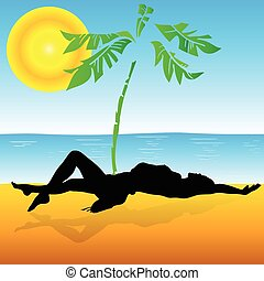 sunbathing on the beach vector illustration