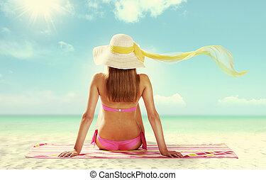 Sunbathing - Summer girl on white background