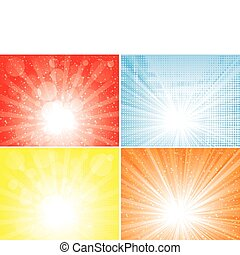 Four diffrent sunbeam backgrounds. EPS 8 CMYK global colors vector illustration.