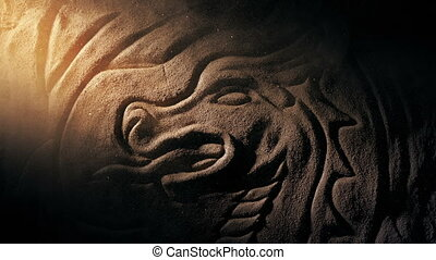 Sunbeam Lights Up Dragon Carving With Swirling Dust - Sun...