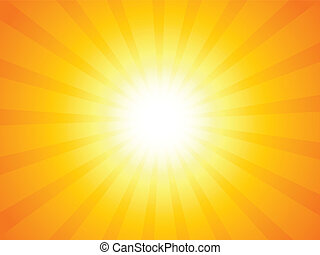 Sunbeam - Orange sky and dramatic sun. Vector illustration.