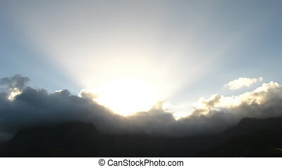Sunbeams at Sunset - Time Lapse Sunbeams at Sunset, Hiva Oa,...